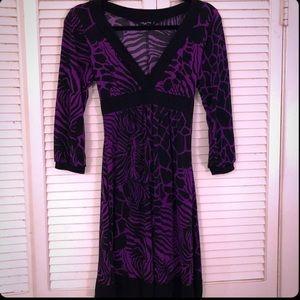 {Ruby Rox}Purple/black safari print empire dress